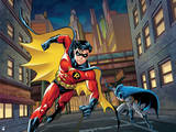 Batman: Robin Running in Front and Batman Slightly Behind Him Holding Batarang in His Hand Posters