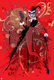 Batman: Harley Quinn Standing in the Center with Gun in Her Hand and Red and White Designs Behind H Posters