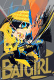 Batman: Pop Art Style Bat Girl with Image of Head and Cartoon Style Batgirl Jumping Prints