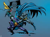 Batman: Batman Jumping Towards the Joker with Robin Swinging in on a Rope from Behind Poster