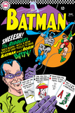 Batman: Cover the Riddler Holding Playing Cards with Batman and Robin Swing in on Ropes Poster