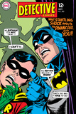 Batman: Cover Batman and Robin with Scared Faces and Outline of Woman in Background Photo