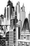 Batman: Black and White Image of the Towers in Gotham City Posters