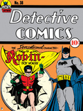 Batman: Cover Batman Smiling with Robin Jumping Through Paper with Cape Flowing Posters