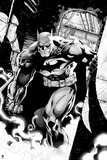 Batman: Black and White Image of Batman Running Through a Building with Smoke at His Feet Prints