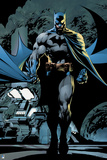 Batman: Batman Walking Forward with Cape Flowing Behind Him and Machines in the Background Print
