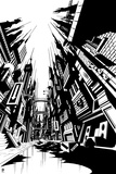 Batman: Black and White Image of Gotham City from the Street with Buildings on Either Side Photo