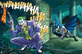 Batman: Batman Running around a Corner, the Joker Crouching Holding a Fake Gun and Laughing Prints