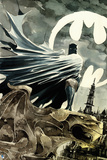 Batman: Watercolor of Batman Crouching on Gargoyle Cape Wrapped around Him City Prints