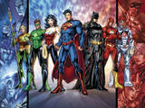 Justice League: Cyborg, Superman, Wonder Woman, Aquaman, Green Lantern, Batman and Flash Prints