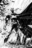 Batman: Batman Standing Heroically in the Rain - in Black and White Poster