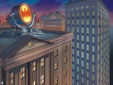 Batman: View of Gotham City Police Department with Spotlight with Bat Signal on It Posters