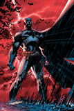 Batman: Batman Standing Heroically Against a Red Sky in the Rain Posters