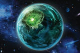 Green Lantern: Planet with Stars in Background Prints