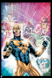 Justice League: Booster Gold, Captain Cold, Captain Marvel, Batman, a Green Lantern, and Others Posters