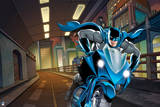 Batman: Batman Riding a Motorcycle Through a Tunnel with Gotham City to the Side Posters