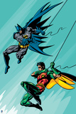 Batman: Batman and Robin Both Swinging Downwards on Ropes with Legs Bent Beneath Them Posters
