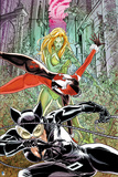 Batman: Poison Ivy Catwoman and Harley Quinn All in Action Poses with Ivy Covered City in Backgroun Posters