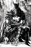 Batman: Black and White Image of Batman Crouching and Looking Down at the Ground Photo