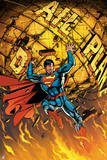 Superman: Superman Holding Up the Crumbling Daily Planet Logo Posters