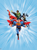 Justice League: Superman with Flash, Green Lantern, Batman with Light Blue Background Posters