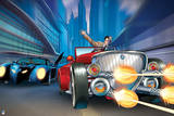 Batman: Batman in the Batmobile and Two Face Driving His Car Shooting Guns Poster