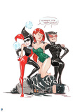Batman: Cartoon of Catwoman Harley Quinn and Poison Ivy Hugging Standing over Batman Tied Up Prints