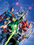 Justice League: Green Lantern, Flash, Aquaman, Wonder Woman, and Superman Print