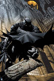 Batman: Batman Cover Art Crouching with City Behind Him Poster