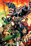 Justice League: Cyborg, Superman, Wonder Woman, Aquaman and Flash in Front of the American Flag Posters