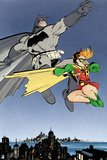Batman: Batman and Robin Jumping in Mid Air with City Below Them Posters
