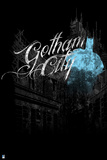 Batman: Blue Batman Outline with Gotham City Written and a City in the Background Prints