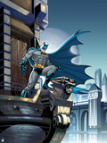 Batman: Batman Standing with One Leg on Gargoyle Looking Down with Full Moon in the Background Posters