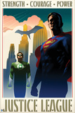 Justice League: Justice League Vintage Style Poster with Superman, Green Lantern, and Batman Photo