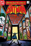 Batman: Cover Batman Standing in a Doorway with Images of Villains in the Room Photo