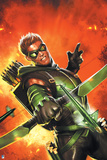Justice League: Green Arrow Shooting His Arrow Against a Fiery Red Backdrop Posters