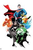 Justice League: Superman, Flash, Aquaman, Green Lantern, and Batman Prints