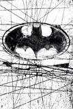 Batman: Batman Symbol in a Circle with Black Lines Going Randomly Through the Background Posters