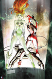 Batman: Harley Quinn and Poison Ivy Standing with Catwoman Crouched Between their Legs Poster