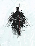 Batman: Black Lined Outline of Batman with Wings and White Background Posters
