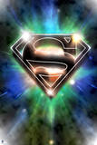 Superman: Superman Logo Design in Colored Lights Posters