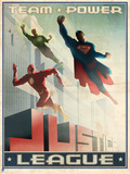 Justice League: Justice League Team Power. Vintage Style Poster Print