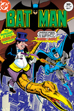 Batman: Cover the Penguin Riding on a Dinosaur Shooting at Batman Prints