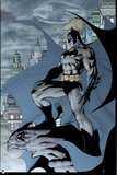 Batman: Side View of Batman Standing on Gargoyle with City and Bat Signal in Background Print