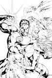 Green Lantern: Green Lantern Vs Sapphire Star (Black and White) Posters