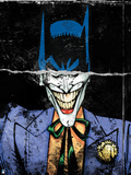 Batman: Torn Image of Batman's Head and Smiling Mouth of the Joker Underneath Print