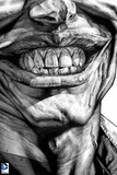 Batman: Black and White Close Up of the Jokers Teeth and Lips Smiling Posters