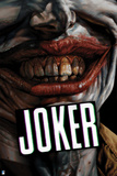 Batman: Close Up of the Jokers Teeth and Lips Smiling with Writing Beneath Them Prints