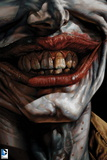 Batman: Close Up of the Jokers Teeth and Lips Smiling Poster