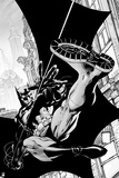 Batman: Black and White Image of Batman Swinging Along the Side of a Building Posters